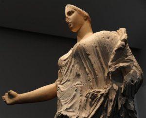17/05/2011 Enna. Museo archeologico di Aidone. Il ritorno della Venere o Dea di Morgantina. Nella foto una visione della antica scultura nell'ambito della sua prima esposizione pubblica.