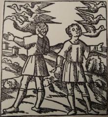 Romolo e Remo osservano il volo degli uccelli. [fonte Wikipedia: ornitomanzia]