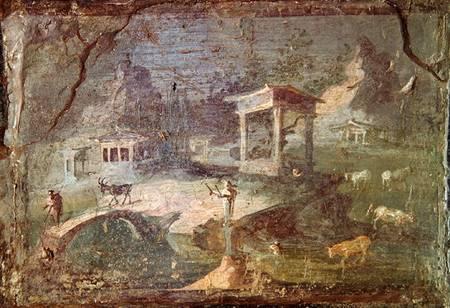Paesaggio idilliaco da Ercolano (affresco). Museo Archeologico Nazionale di Napoli,  Lauros / Giraudon out of copyright